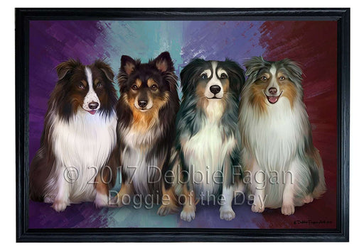 4 Australian Shepherds Dog Framed Canvas Print Wall Art BRFRMCVS51910