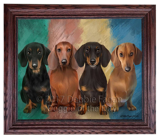 4 Dachshunds Dog Framed Canvas Print Wall Art BRFRMCVS51944