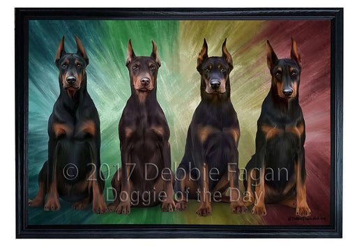 4 Doberman Pinschers Dog Framed Canvas Print Wall Art BRFRMCVS51995