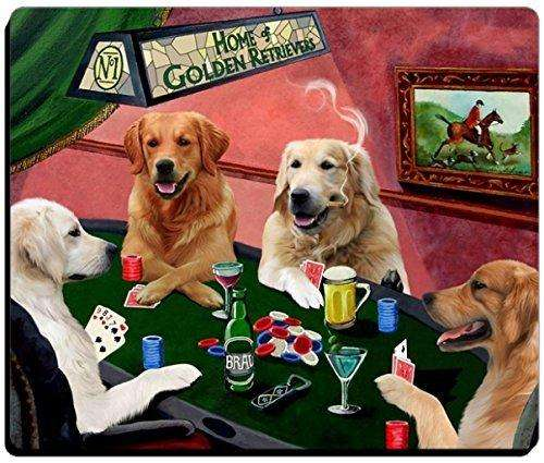 4 Dogs Playing Poker Golden Retriever Mousepad