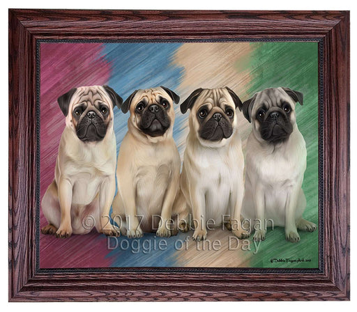 4 Pugs Dog Framed Canvas Print Wall Art BRFRMCVS52012