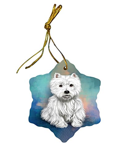 West Highland Terrier Dog Christmas Snowflake Ceramic Ornament