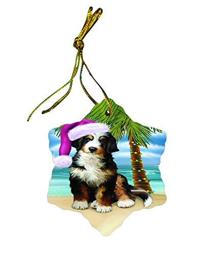 Summertime Bernedoodle Dog on Beach Christmas Star Ornament POR2976