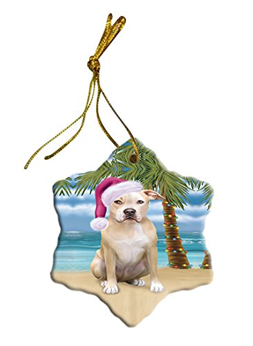 Summertime Pit Bull Dog on Beach Christmas Star Ornament POR2903