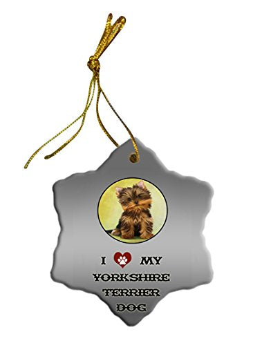 Yorkshire Terrier Dog Christmas Snowflake Ceramic Ornament