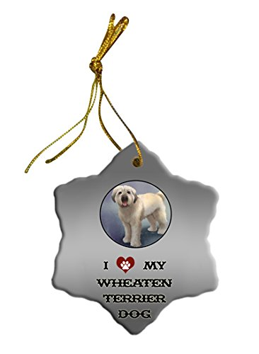 Wheaten Terrier Dog Christmas Snowflake Ceramic Ornament