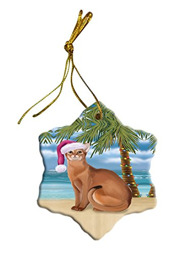 Summertime Abyssinian Cat on Beach Christmas Star Ornament POR2749