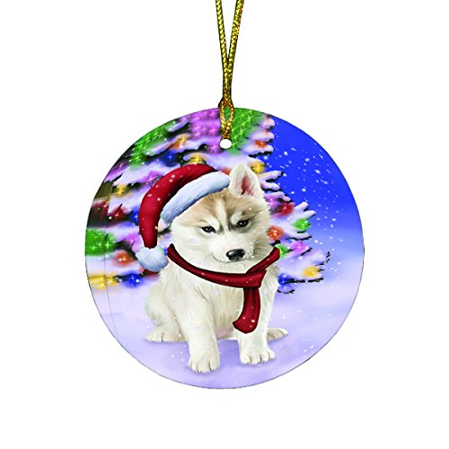 Winterland Wonderland Siberian Huskies Dog In Christmas Holiday Scenic Background Round Ornament D517