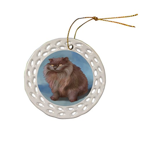 Tiffany Cat Christmas Doily Ceramic Ornament