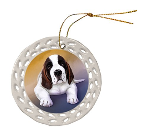 Saint Bernard Dog Ceramic Doily Ornament DPOR48092