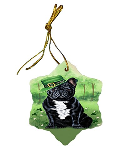 St. Patricks Day Irish Portrait French Bulldog Star Porcelain Ornament SPOR48790