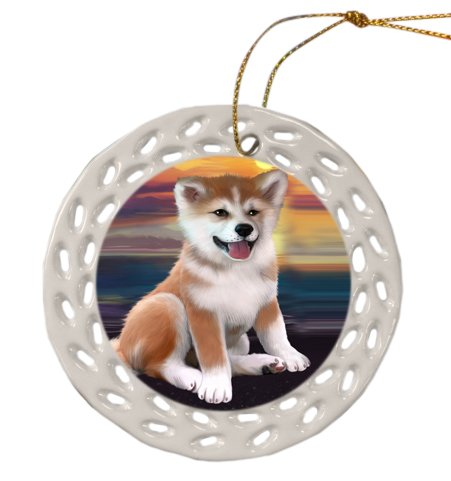 Shiba Inu Dog Christmas Doily Ceramic Ornament