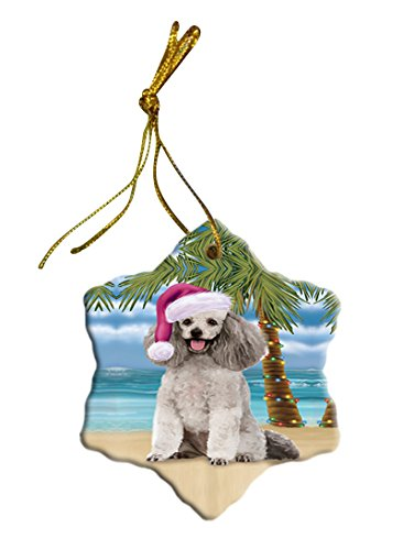 Summertime Poodle Dog on Beach Christmas Star Ornament POR2934