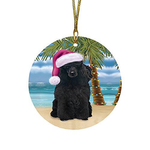 Summertime Poodle Dog on Beach Christmas Round Flat Ornament POR1755
