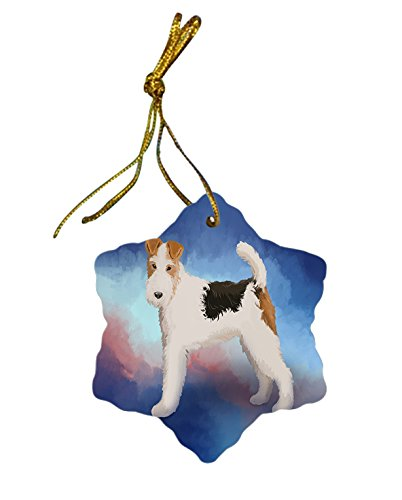 Wire Fox Terrier Dog Christmas Snowflake Ceramic Ornament