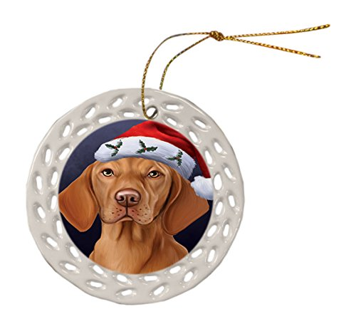 Vizsla Dog Christmas Doily Ceramic Ornament