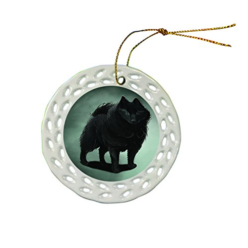 Schipperke Dog Christmas Doily Ceramic Ornament