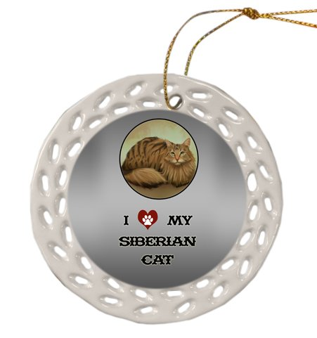 Siberian Cat Christmas Doily Ceramic Ornament