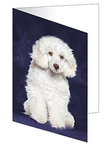 White Poodle Dog Greeting Card D391