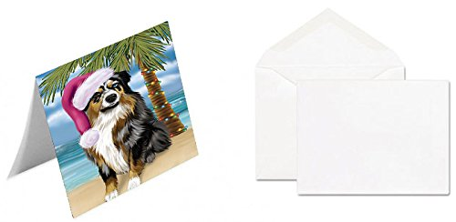 Summertime Happy Holidays Christmas Australian Shepherd Dog on Tropical Island Beach Note Card