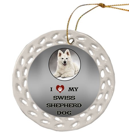 Swiss Shepherd Dog Christmas Doily Ceramic Ornament
