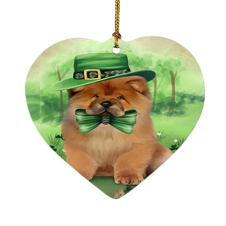 St. Patricks Day Irish Portrait Chow Chow Dog Heart Christmas Ornament HPOR48784