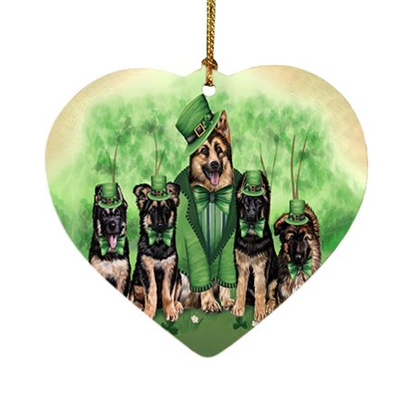 St. Patricks Day Irish Family Portrait German Shepherds Dog Heart Christmas Ornament HPOR48804