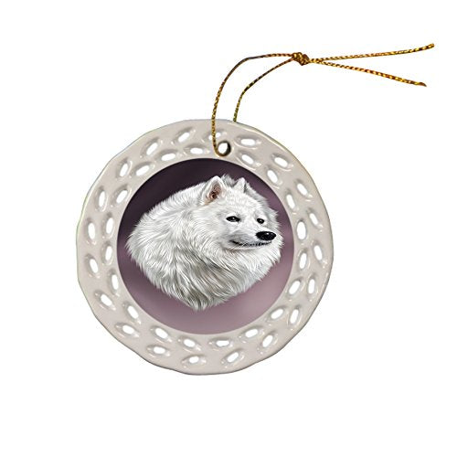 Samoyed Dog Christmas Doily Ceramic Ornament