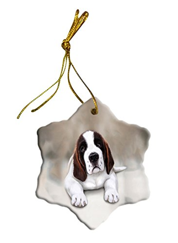 Saint Bernard Dog Christmas Snowflake Ceramic Ornament