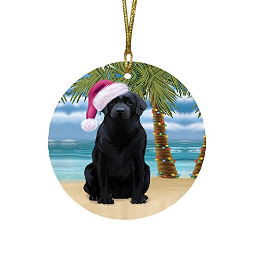 Summertime Labrador Dog on Beach Christmas Round Flat Ornament POR1695