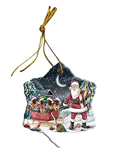 Santa Sled Dogs Bullmastiff Christmas Star Ornament POR2741