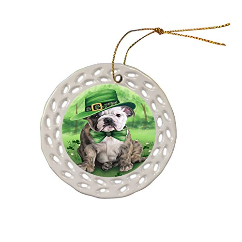 St. Patricks Day Irish Portrait Bulldog Ceramic Doily Ornament DPOR48752