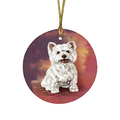 West Highland Terriers Adult Dog Round Christmas Ornament