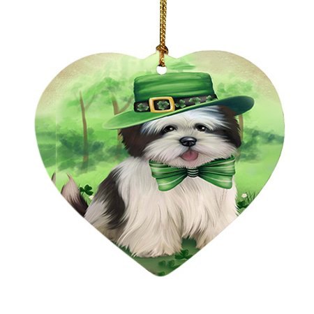 St. Patricks Day Irish Portrait Lhasa Apso Dog Heart Christmas Ornament HPOR48832