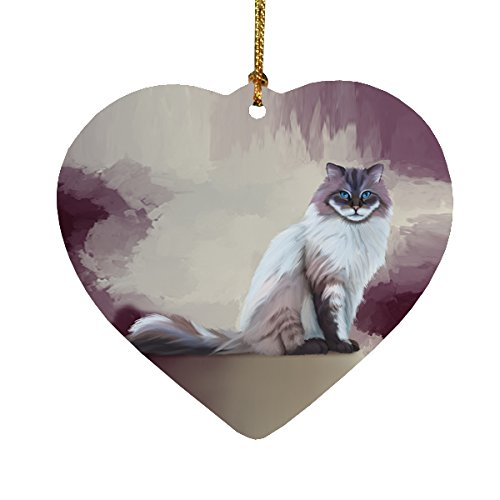 Seal Mitted Lynx Ragdoll Cat Heart Christmas Ornament HPOR48098