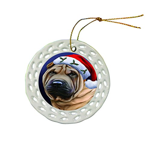 Shar Pei Dog Christmas Doily Ceramic Ornament
