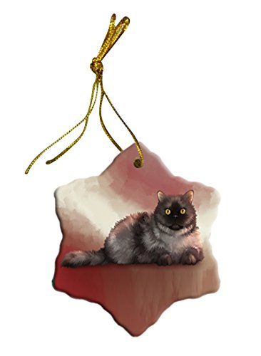 Selkirk Rex Cat Christmas Snowflake Ceramic Ornament