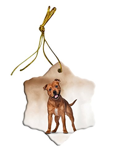 Staffordshire Dog Christmas Snowflake Ceramic Ornament
