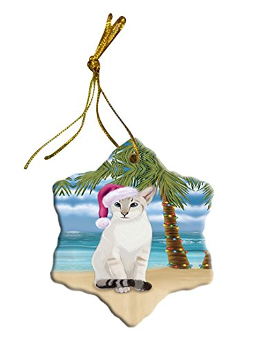 Summertime Siamese Cat on Beach Christmas Star Ornament POR2889