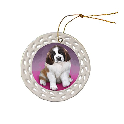 Saint Bernard Dog Christmas Doily Ceramic Ornament