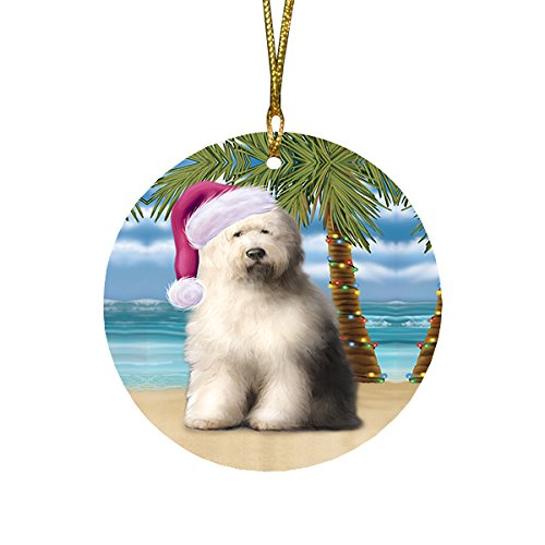 Summertime Old English Sheepdog on Beach Christmas Round Flat Ornament POR1697
