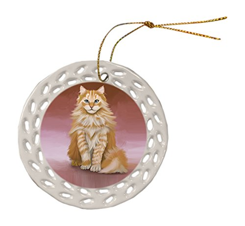 Siberian Cat Ceramic Doily Ornament DPOR48119