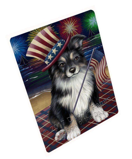 4th Of July Fireworks Australian Shepherd Dog Blanket BLNKT49179