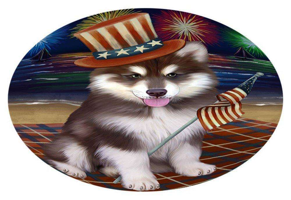 4th of July Independence Day Firework Alaskan Malamute Dog Oval Envelope Seals OVE50852