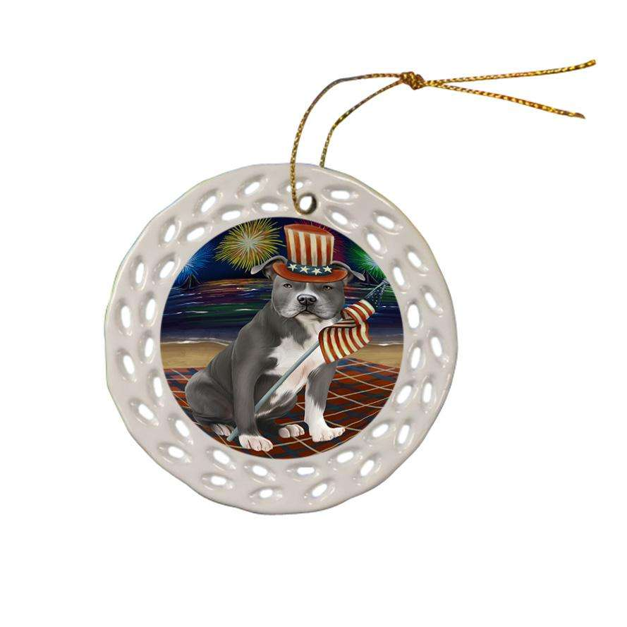 4th of July Independence Day Firework American Staffordshire Terrier Dog Ceramic Doily Ornament DPOR52001