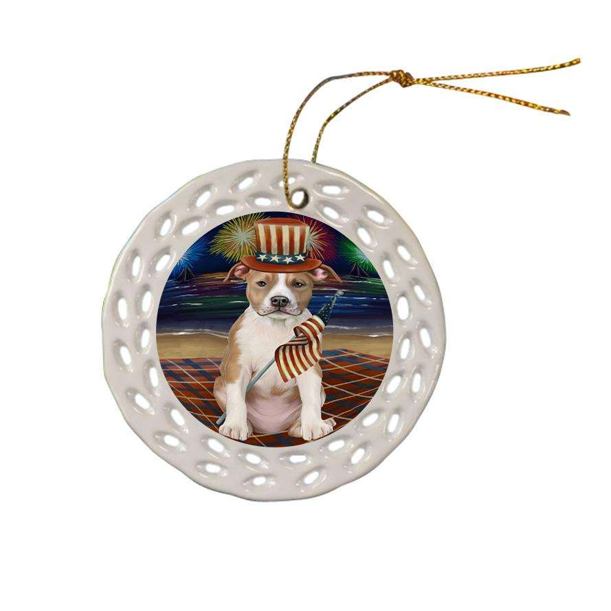 4th of July Independence Day Firework American Staffordshire Terrier Dog Ceramic Doily Ornament DPOR52394