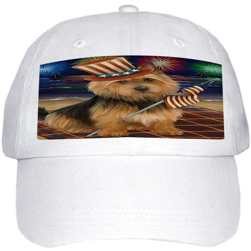 4th of July Independence Day Firework Australian Terrier Dog Ball Hat Cap HAT59910