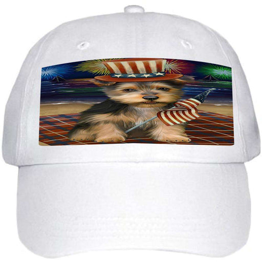 4th of July Independence Day Firework Australian Terrier Dog Ball Hat Cap HAT59916