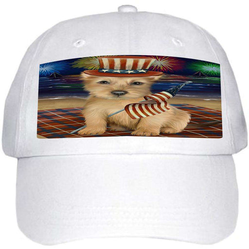4th of July Independence Day Firework Australian Terrier Dog Ball Hat Cap HAT59919