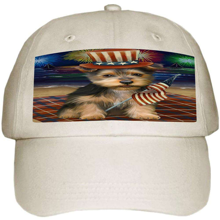 4th of July Independence Day Firework Australian Terrier Dog Ball Hat Cap HAT60930